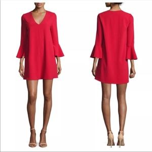 Alice + Olivia | Red Mini Shift Flare Sleeve Dress